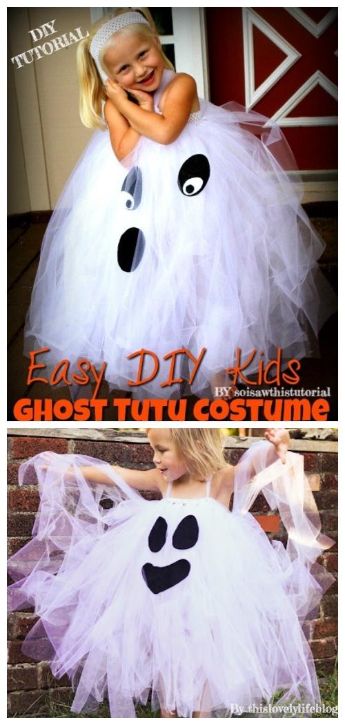 DIY No Sew Tutu Skirt Ideas & Tutorials - Kids Ghost Tutu skirt Costume DIY Tutorial