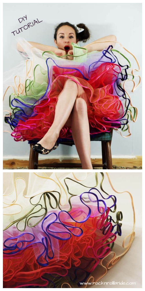 DIY No Sew Tutu Skirt Ideas & Tutorials -  Multi Coloured Pettiskirt DIY Tutorial