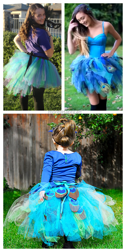 DIY No Sew Tutu Skirt Ideas & Tutorials - Peacock Tutu skirt Costume DIY Tutorial