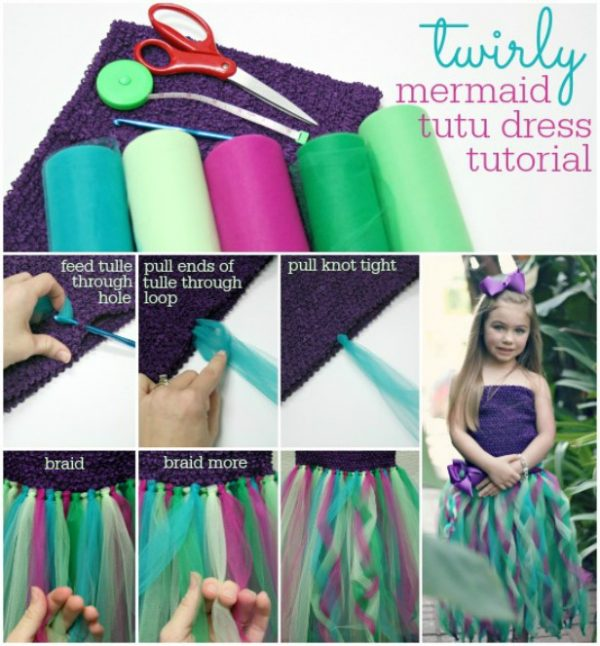 DIY No Sew Tutu Skirt Ideas & Tutorials - DIY No Sew Mermaid Tutu Skirt Tutorial