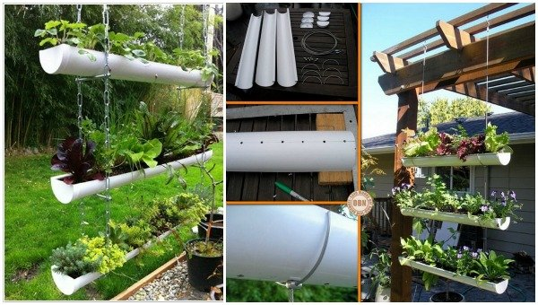 15 Fabulous DIY Rain Gutter Projects For Home and Garden - DIY Hanging Rain Gutter Garden