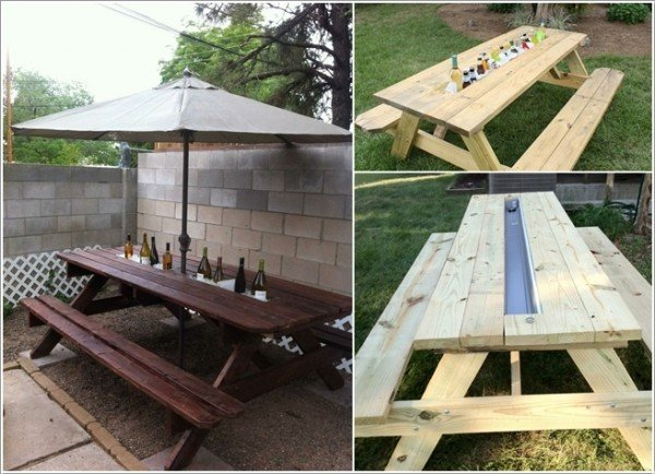 15 Fabulous DIY Rain Gutter Projects For Home and Garden - DIY Rain Gutter Cooler Table