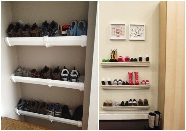 15 Fabulous DIY Rain Gutter Projects For Home and Garden - DIY Rain Gutter Shoe Rack