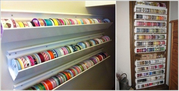 15 Fabulous DIY Rain Gutter Projects For Home and Garden - DIY Rain Gutter Ribbon Organizer