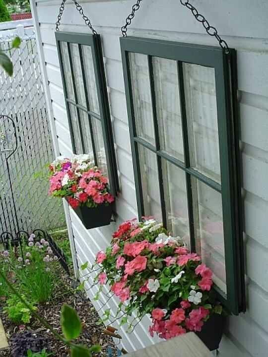 20 Fabulous Ways to Repurpose Old Windows -Repurposed window frames as planter boxes