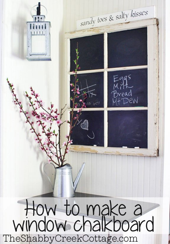 20 Fabulous Ways to Repurpose Old Windows -Turn Old Windows Into Chalk Board