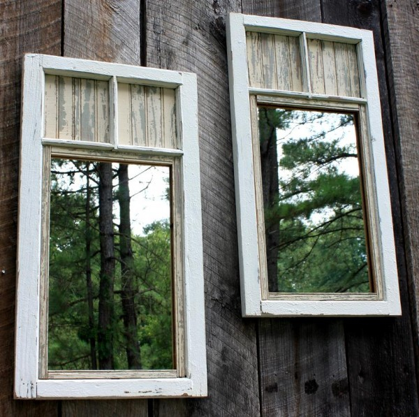 20 Fabulous Ways to Repurpose Old Windows -Turn Old Windows Into Garden Mirror Wall