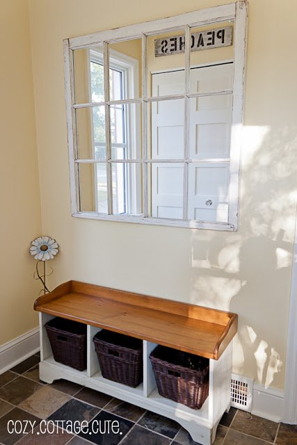 20 Fabulous Ways to Repurpose Old Windows -Turn Old Windows Into Hallway Mirror