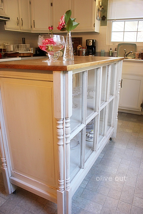 20 Fabulous Ways to Repurpose Old Windows -Turn Old Windows Into Kitchen Island