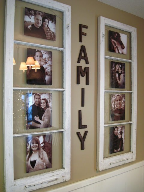 20 Fabulous Ways to Repurpose Old Windows -Turn Old Windows Into Wall Keepsakes