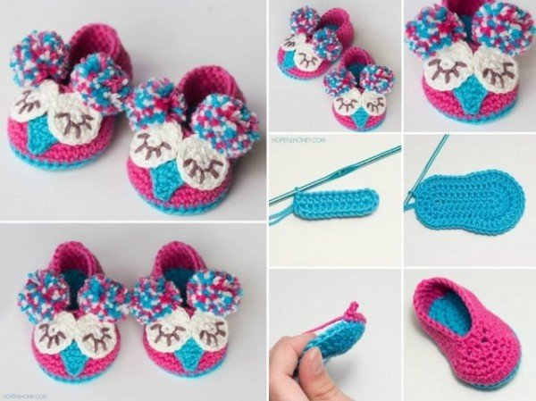 DIY Crochet Mary Jane Owl Slippers Shoes