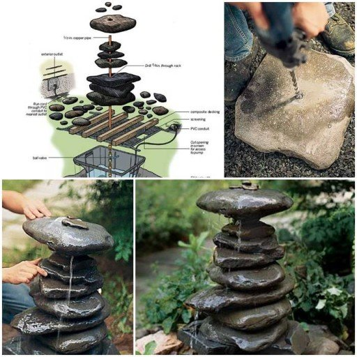Diy how to make water garden fountain for How to make an outdoor fountain