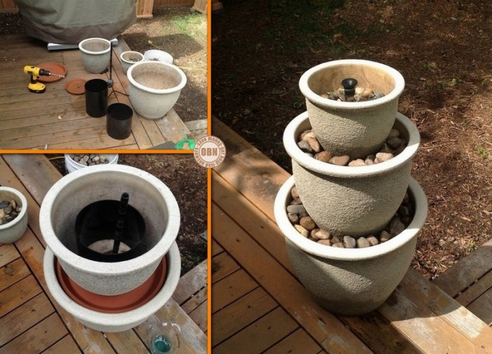 DIY How To Make Water Garden Fountain   Recycle Flower Pot To A Stacked  Water Fountain