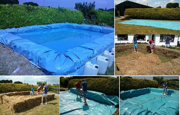 How to build a hay bale swimming pool for Diy pool house plans