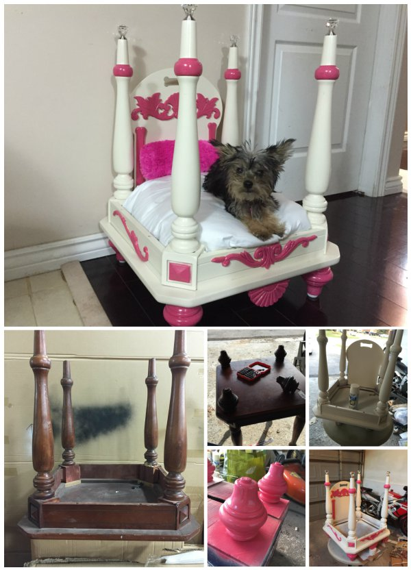 How to turn old end table into pet bed for Making a dog bed out of a table