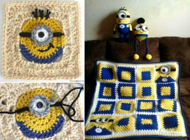 DIY Crochet Minion Granny Square free pattern