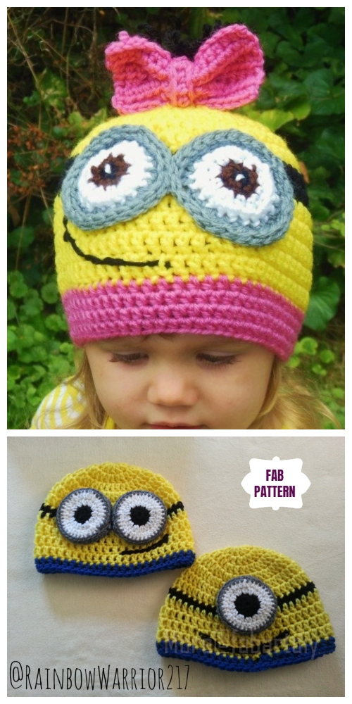 DIY Crochet Minion Beanie Hat free Crochet Patterns
