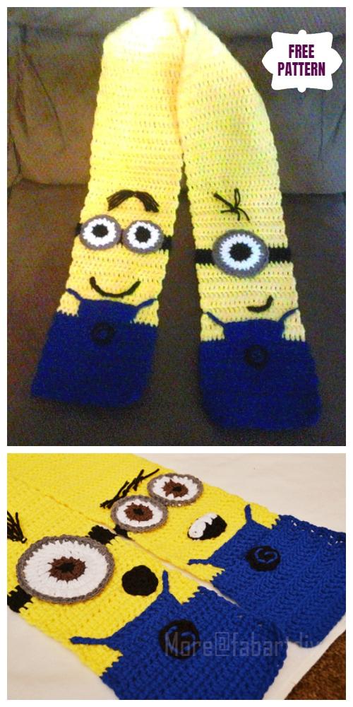 DIY Crochet Minion Scarf Free Crochet Pattern