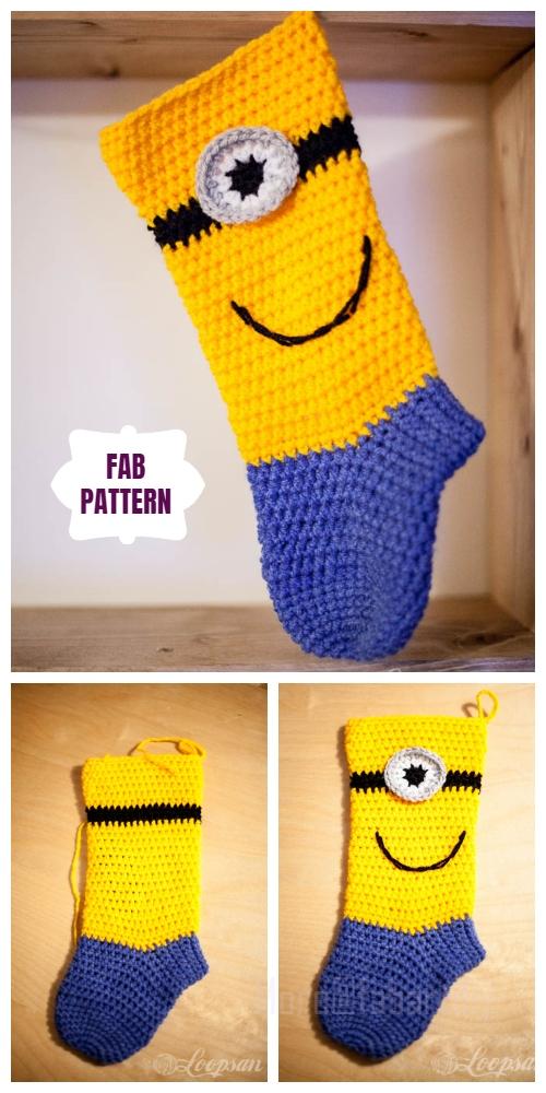 DIY Crochet Minion Stocking Free Crochet Pattern