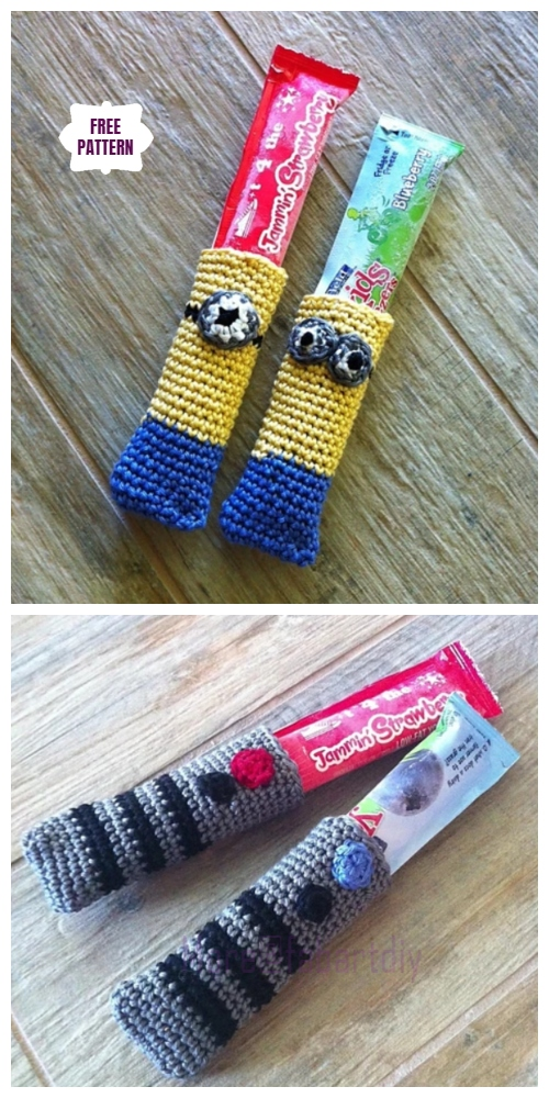 DIY Crochet Ice pop koozie lightsaber minionFree Crochet Pattern