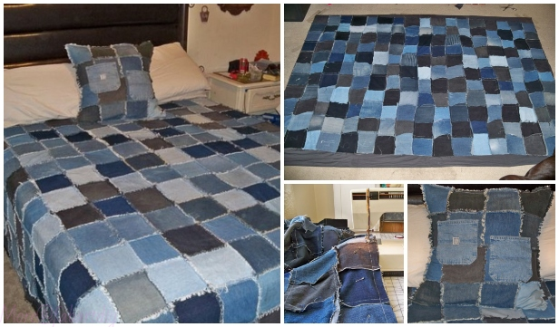 DIY Denim Rag Quilt From Old Jeans Sew Pattern & Tutorial