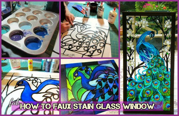 How to faux stain glass window - DIY Faux Stained Peacock