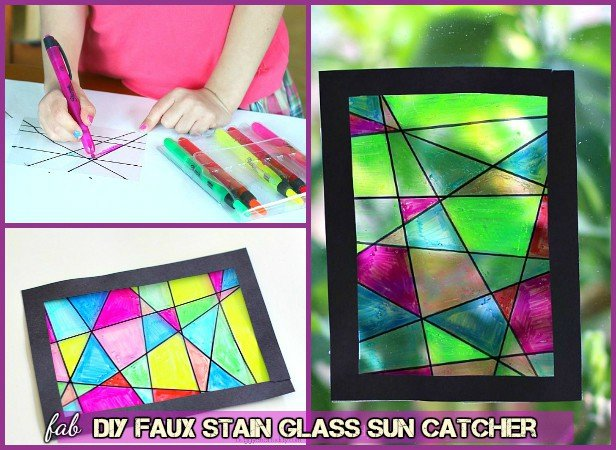 How to faux stain glass window - DIY Faux Stained Sun Catcher Tutorial