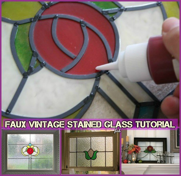 How to faux stain glass window - DIY FAUX Vintage stained glass tutorial