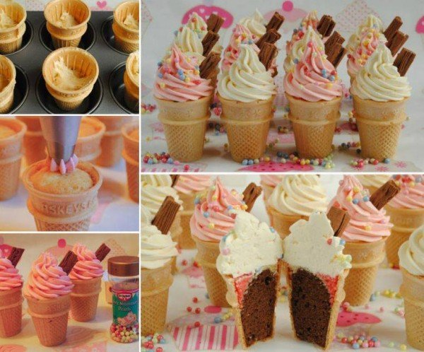 Bake Cupcakes in Ice Cream Cones for the ultimate Party treat! - How to DIY Ice Cream Cone Cupcakes (Video)