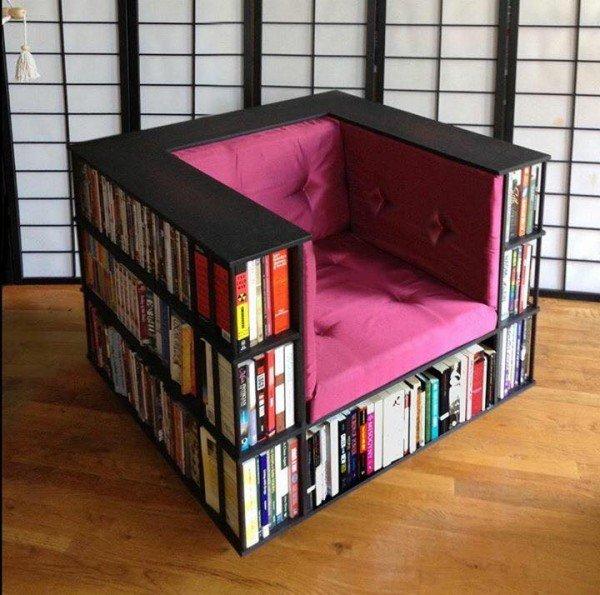 DIY Bookshelf Chair For Book Worms
