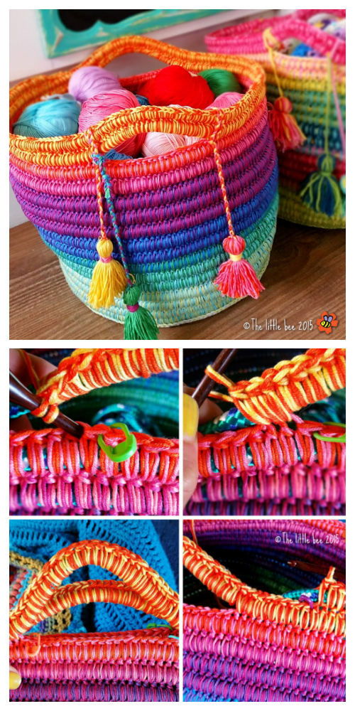 DIY Crochet Rainbow Rope Basket Free Pattern Tutorial