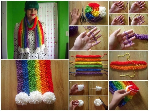 DIY Finger Knitted Rainbow Scarf Tutorial