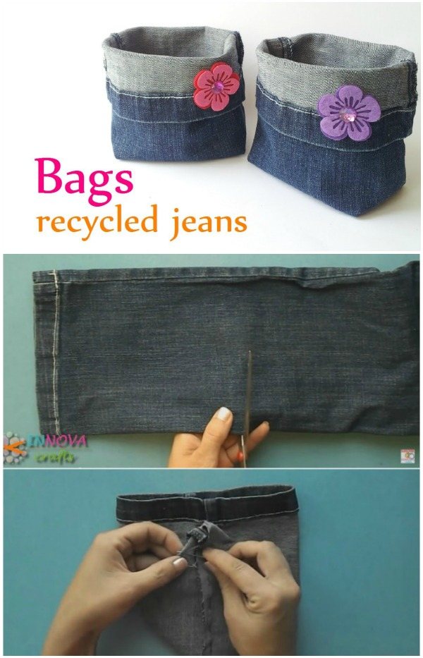DIY How to Make Recycled Jean Bag with video
