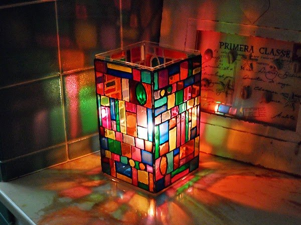 How to DIY Faux Stained Glass Mosaic Luminary