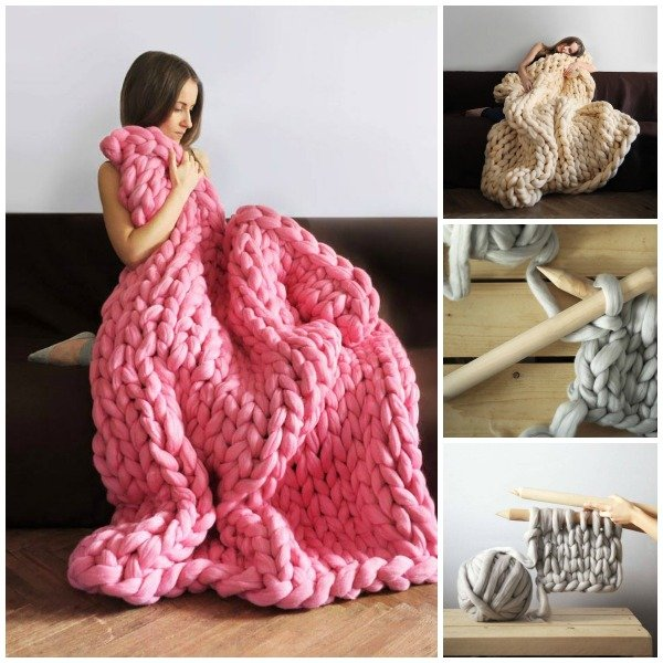 Diy super chunky knit blanket by anna mo for How to make a big chunky knit blanket
