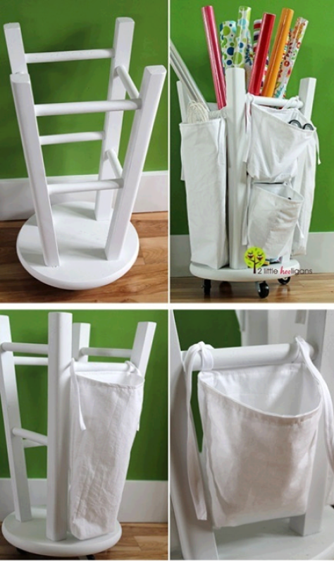 Diy wrapping paper organizer from old stool diy wrapping paper organizer from old stool diy craft organizer tutorial solutioingenieria Image collections