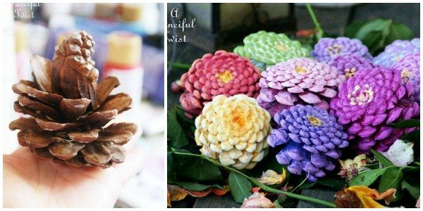 DIY Pine Cone Flowers Tutorial: How To Make Zinnia Flowers from Pine Cones