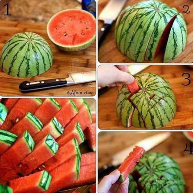 About ¼ of the way from the side, draw a line around half of the watermelon. From that fist line, draw a line all around the back of the watermelon. Cut that top section out along the lines. Use a large spoon to remove as much of the flesh as possible. Use a smaller knife to cut out small triangles all along the edge.