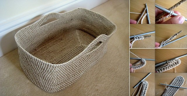 How to diy crochet rope basket - Idees bricolage maison ...