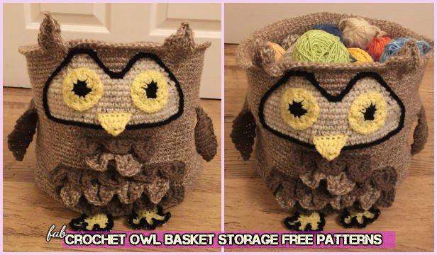 Crochet Owl Basket Storage Free Patterns