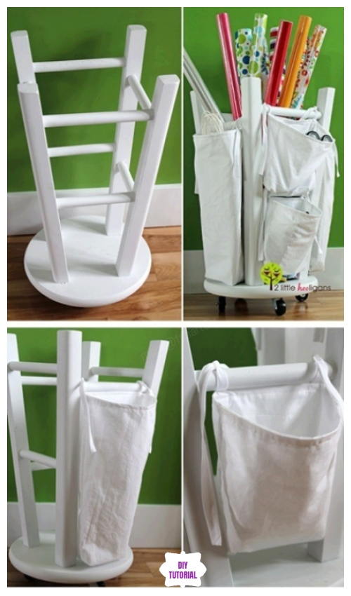 DIY Wrapping Paper Organizer from Old Stool