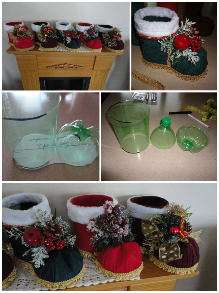 Decorating Ideas > How To DIY Festive Santa Boots Out Of Plastic Bottle ~ 195317_Christmas Decoration Ideas Made Of Plastic Bottles