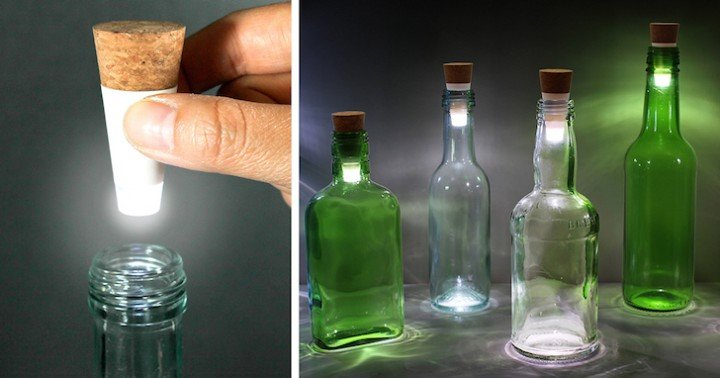Turn Empty Bottles Into Unique Lamps With Rechargeable LED Corks! So  Clever!   How