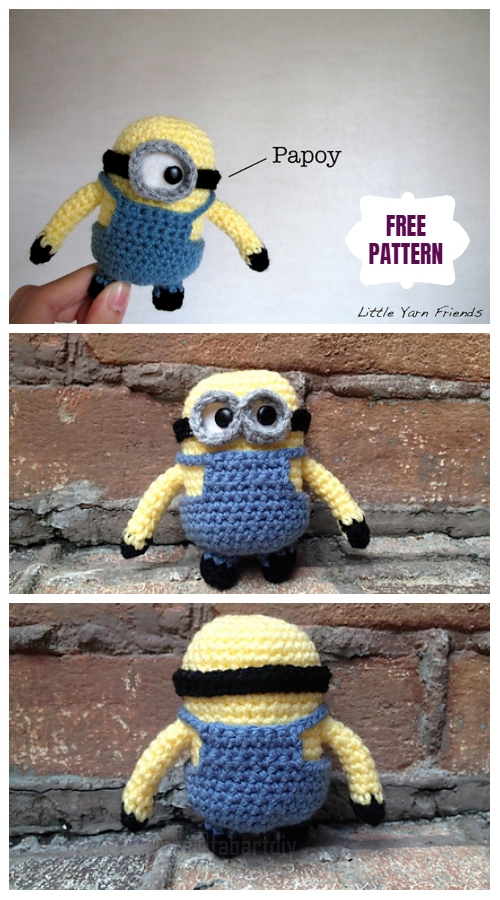DIY Amigurumi Crochet Minion Free Patterns - Amigurumi Lil' Minion Despicable Me Free Crochet Pattern