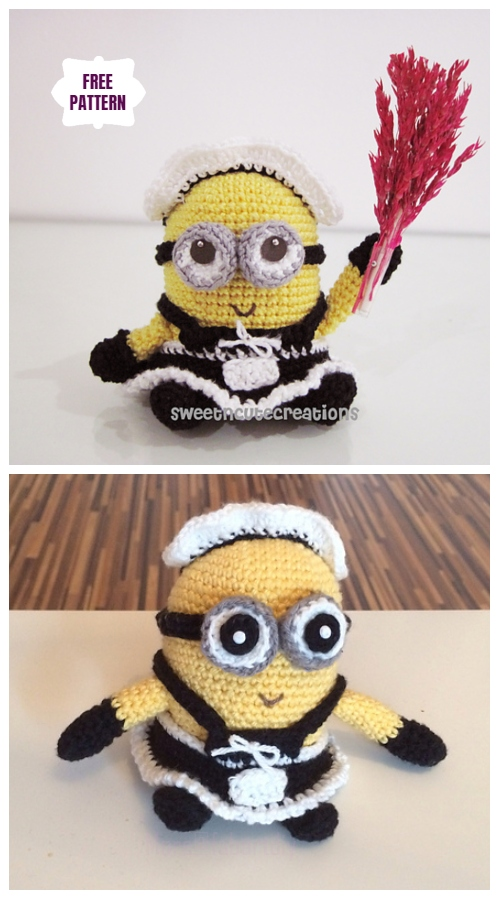 DIY Amigurumi Crochet Minion Free Patterns - Amigurumi Frenchie the 2 eyed Minion Free Crochet Pattern
