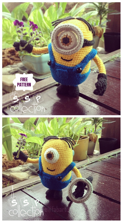 DIY Amigurumi Crochet Minion Free Patterns - Amigurumi Despicable Me One-Eyed Minion Free Crochet Pattern