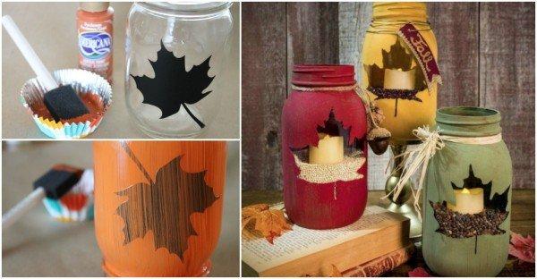 DIY Autumn Leaf Manson Jar Candle Holders