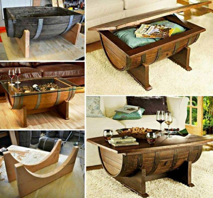 DIY Whiskey Barrel Coffee Table instructions and tutorials with video