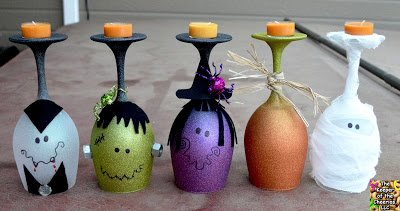 DIY Halloween Wine Glass Candle Holder-40+ Easy to DIY Halloween Decorating crafts Ideas