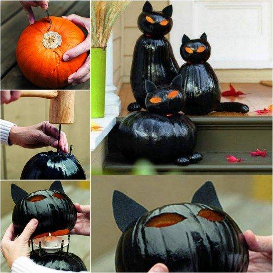DIY Pumpkin black cat lights for your doorway -40+ Easy to DIY Halloween Decorating Ideas